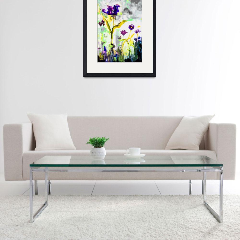 """""""Abstract Tulips Cool Tones Modern Decor Art""""  (2019) by GinetteCallaway"""