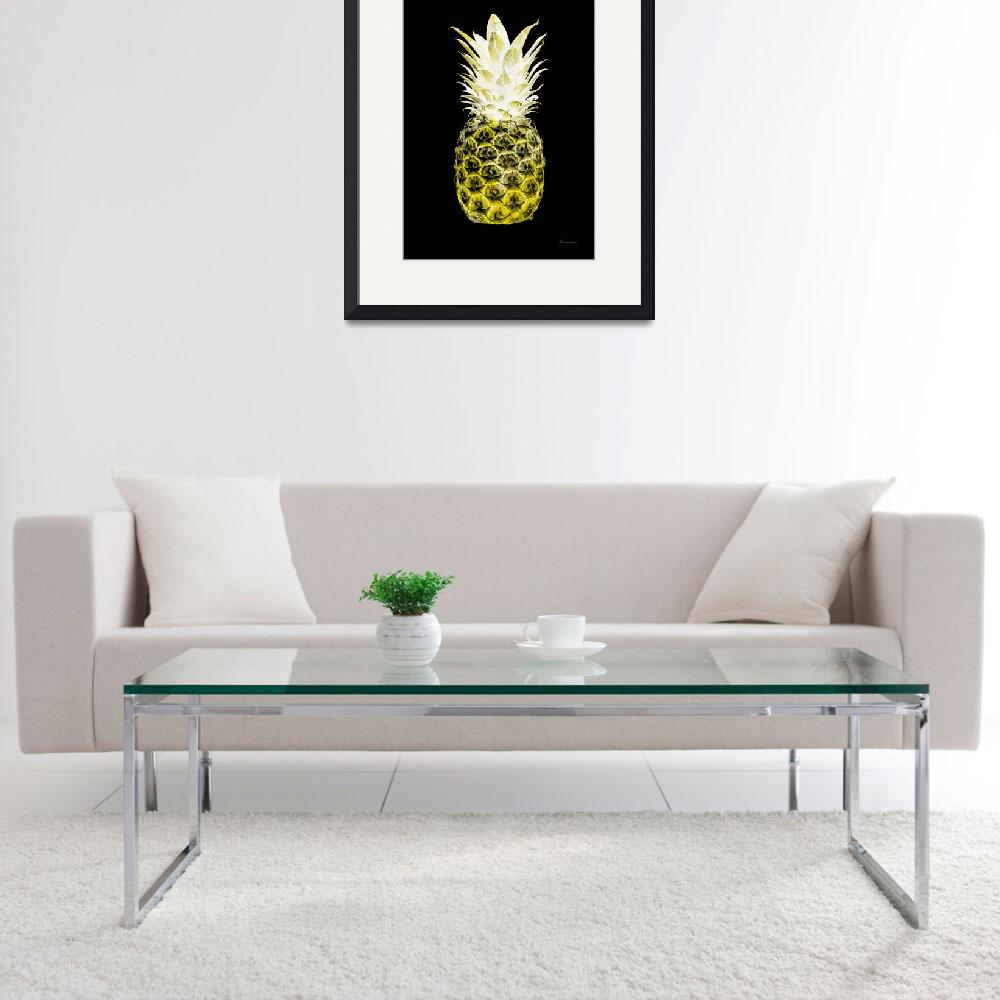 """14N Artistic Glowing Pineapple Digital Art Yellow&quot  (2016) by Ricardos"