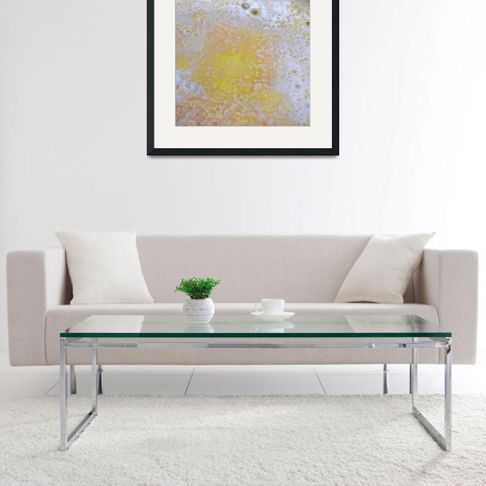 """""""3. v2 Yellow and White Speckle Abstract&quot  (2016) by maggieminordesigns"""