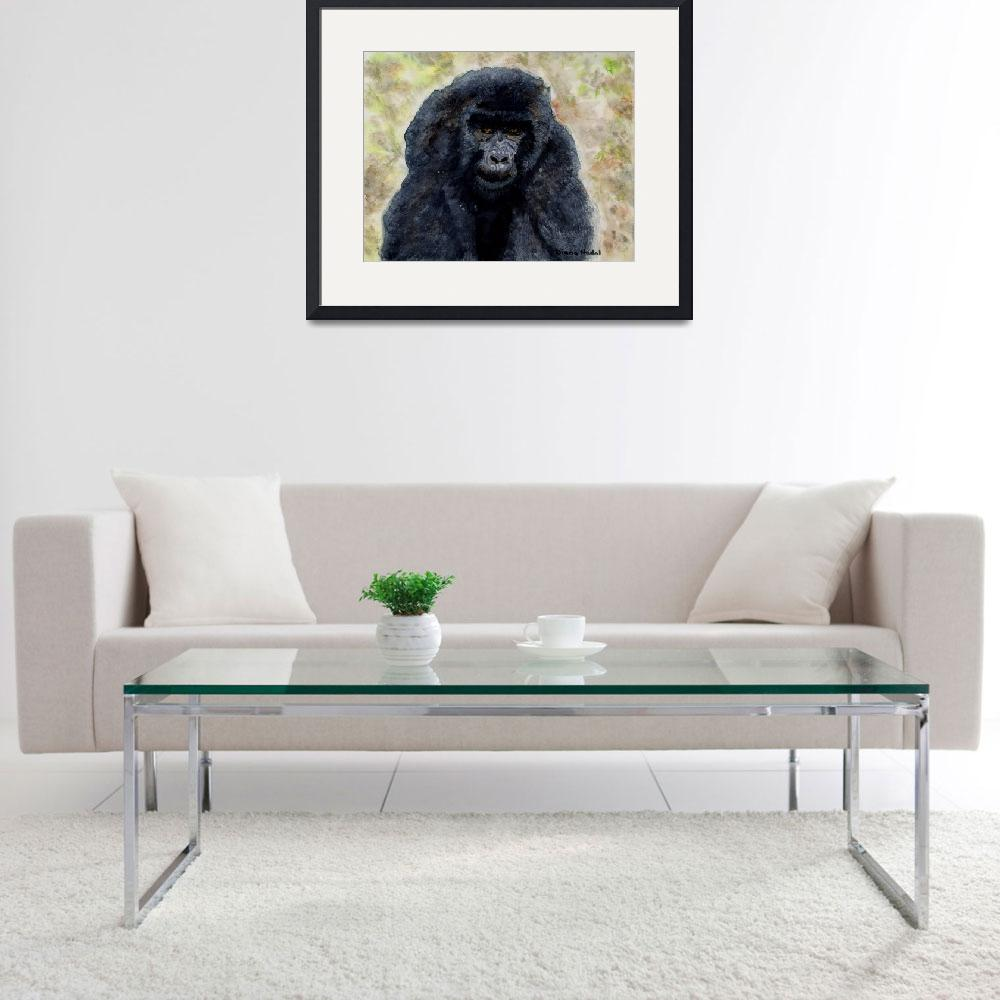"""""""Curious_Young_Male_Gorilla&quot  (2004) by DianaNadalFineArt"""