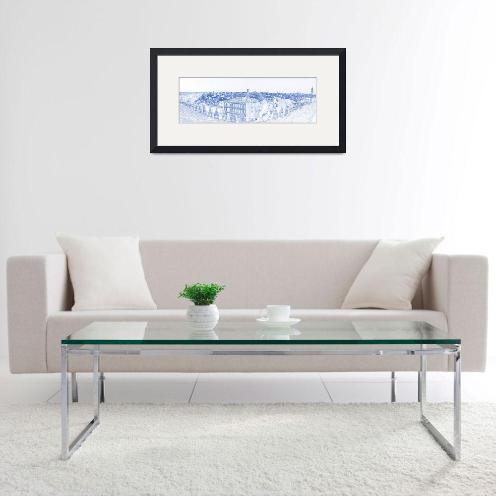 """""""Blueprint drawing of  Venice City Panorama&quot  by motionage"""