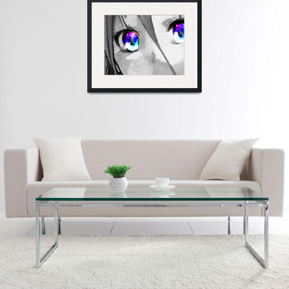 """""""Anime Girl Eyes 2 Black And White Blue Eyes 2&quot  (2018) by RubinoFineArt"""