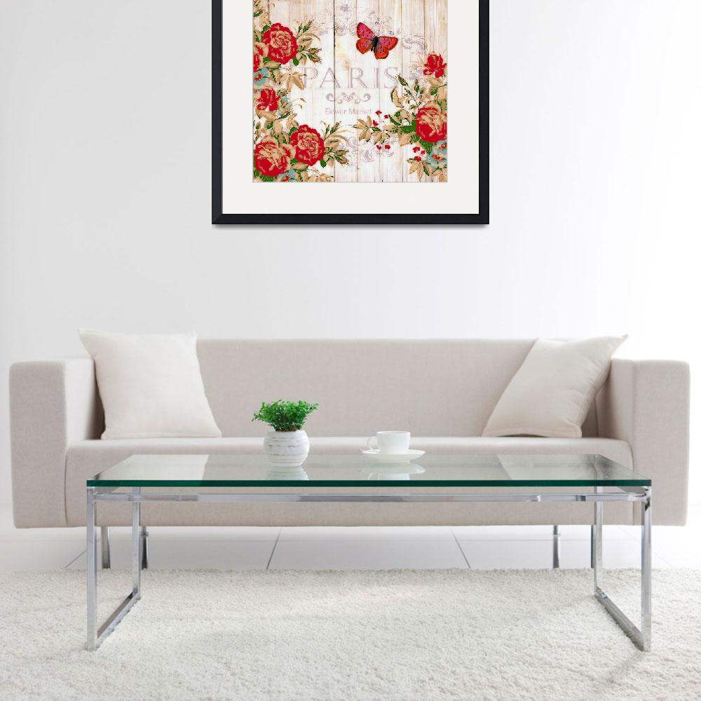 """""""Red roses on wood""""  (2016) by lizmix"""
