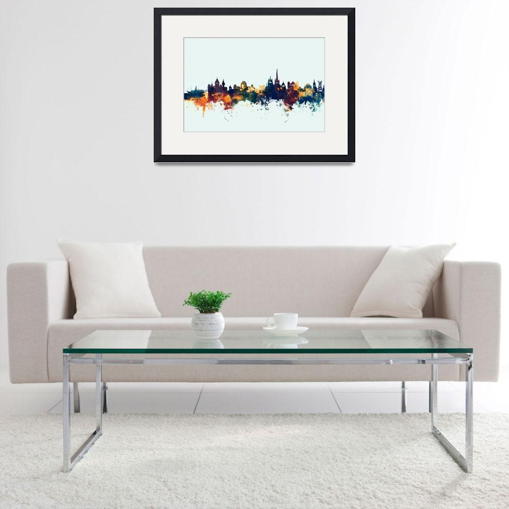 """Lausanne Switzerland Skyline""  (2017) by ModernArtPrints"