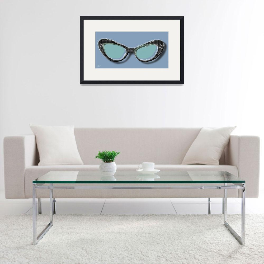 """""""Retro Glasses Funky Pop Blue Teal&quot  by RubinoFineArt"""