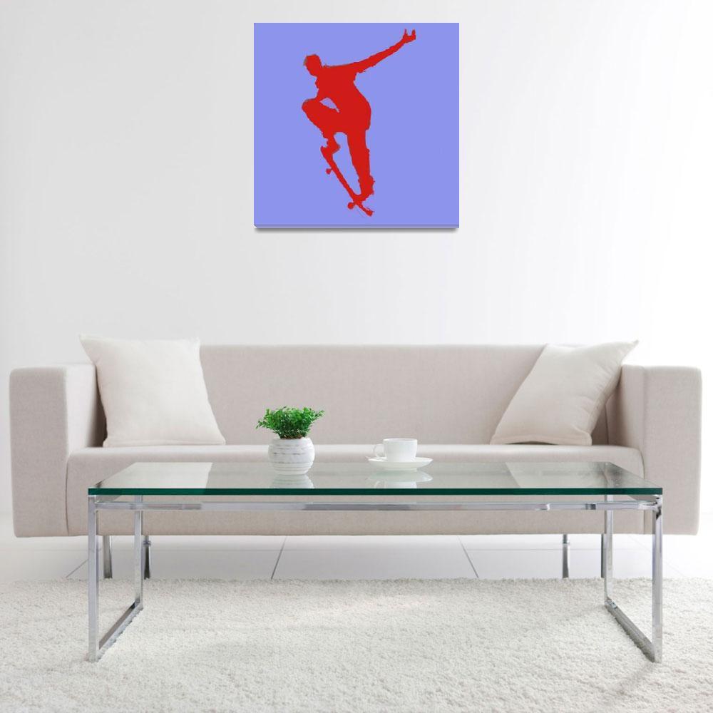 """Skateboarder 1 . blue red (c)""  (2014) by edmarion"