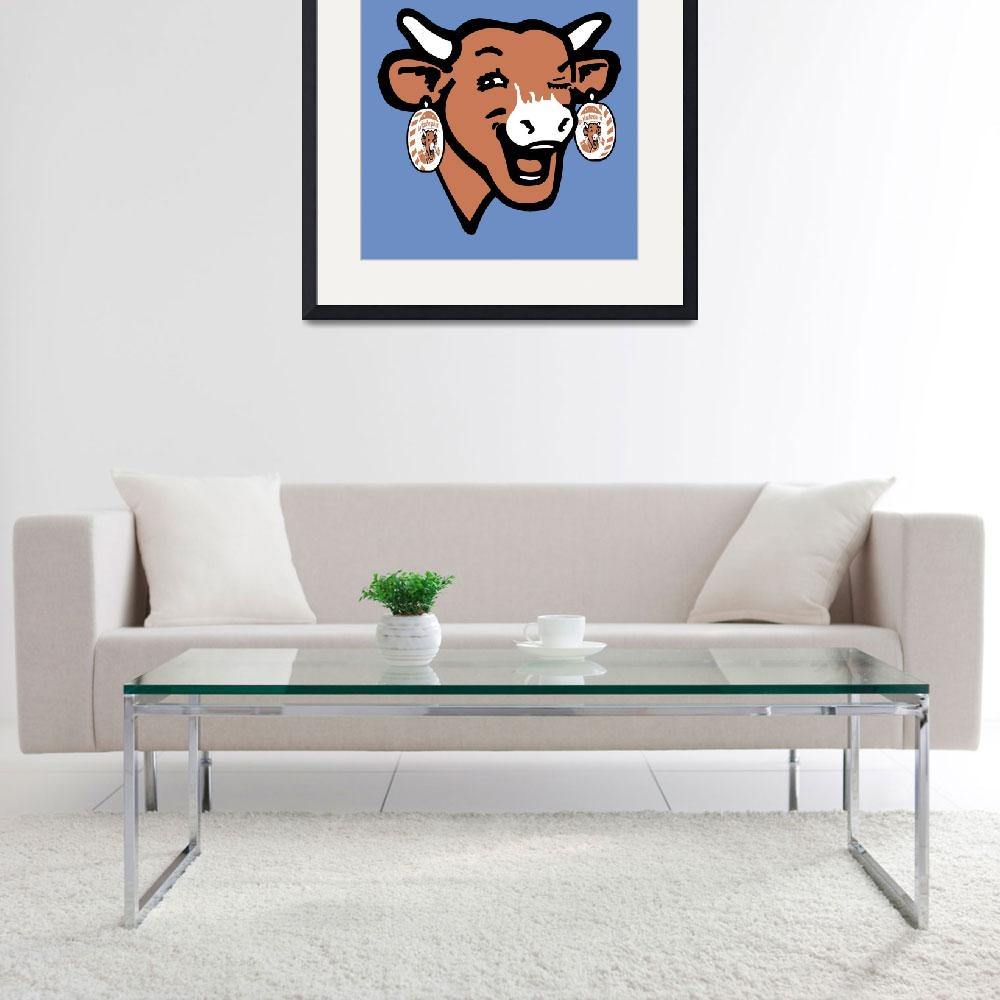 """""""The Laughing Cow Pop 2 - Brown on Blue&quot  (2015) by peterpotamus"""