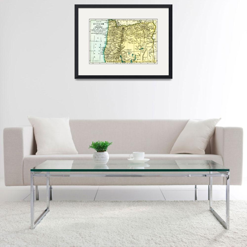 """Oregon Antique Map 1891&quot  (2016) by WilshireImages"