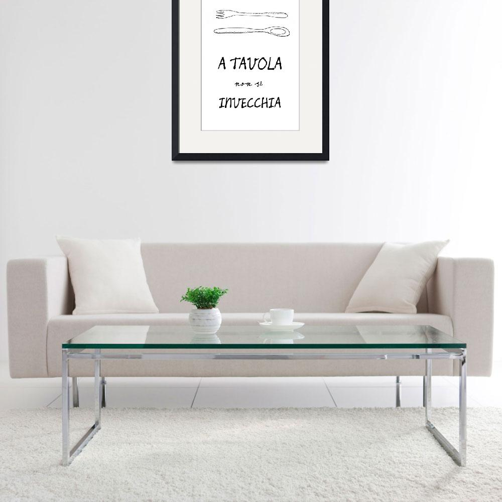 """Italian food quote kitchen art poster""  (2011) by Lebonvintage"