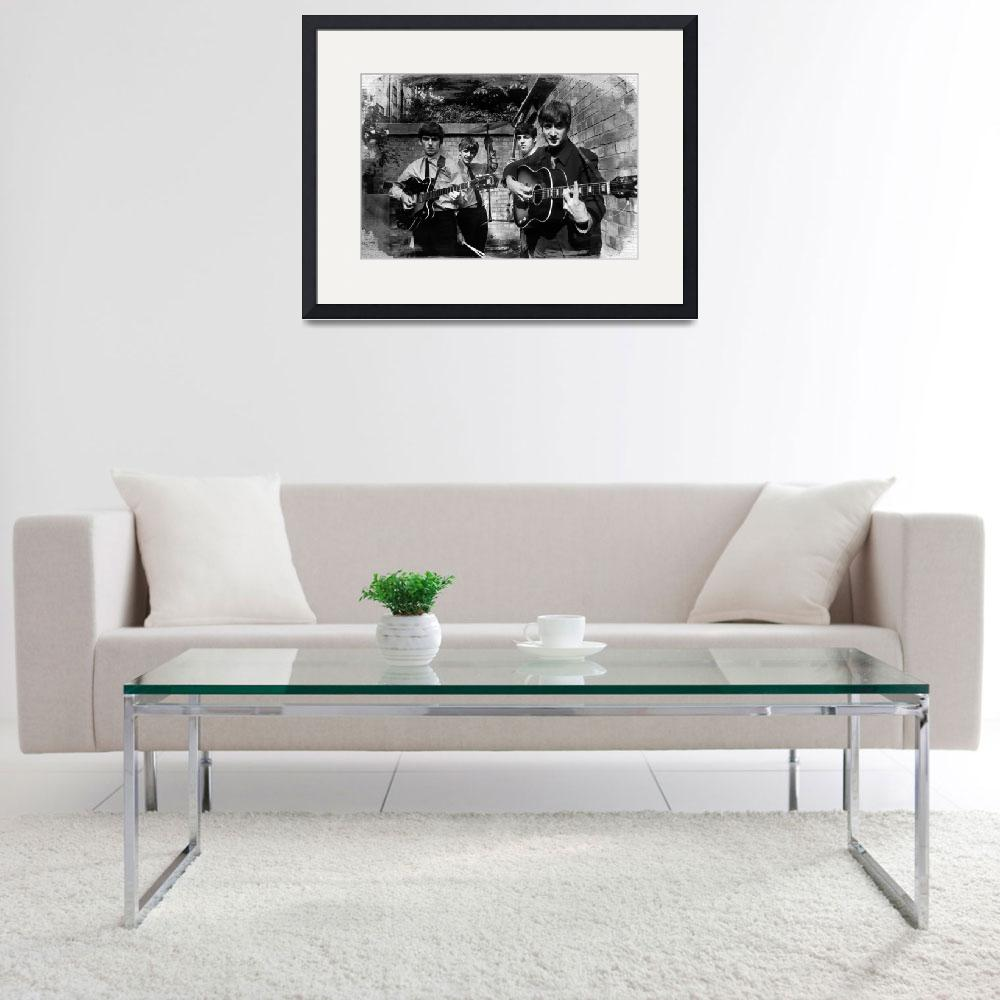 """""""The Beatles In London 1963 Black And White Paintin&quot  by RubinoFineArt"""
