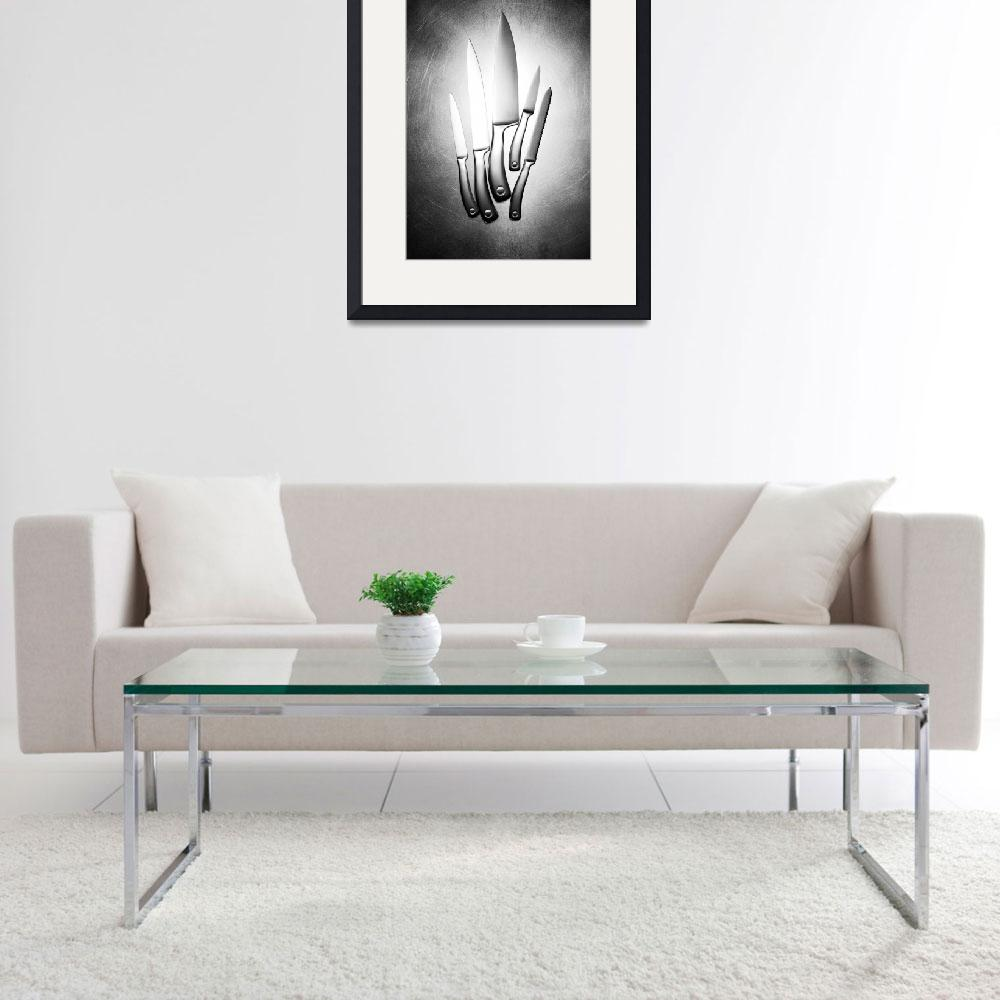 """""""Knives on steel black and white photograph print&quot  (2010) by RF_Photography"""