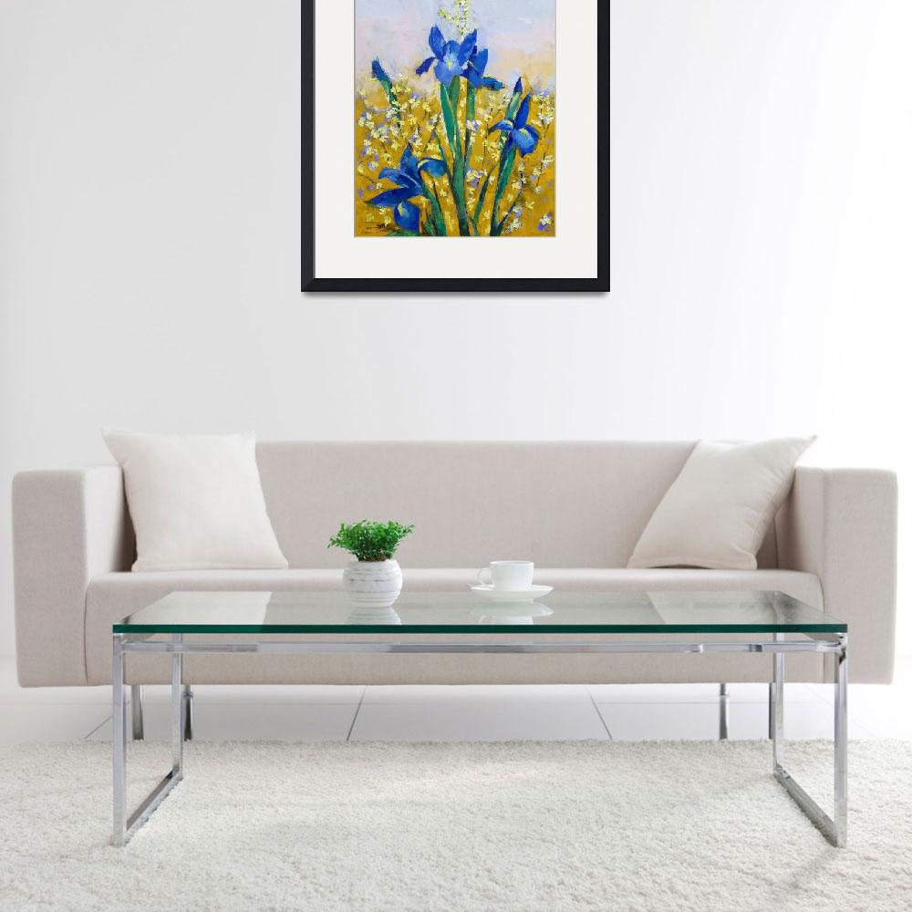 """Iris and Forsythia&quot  by creese"