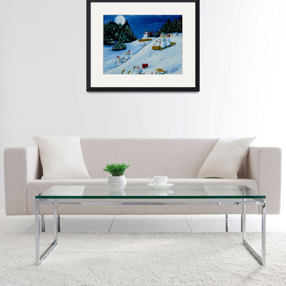 """""""Snowmans Winter Sports&quot  (2010) by anthonydunphy"""