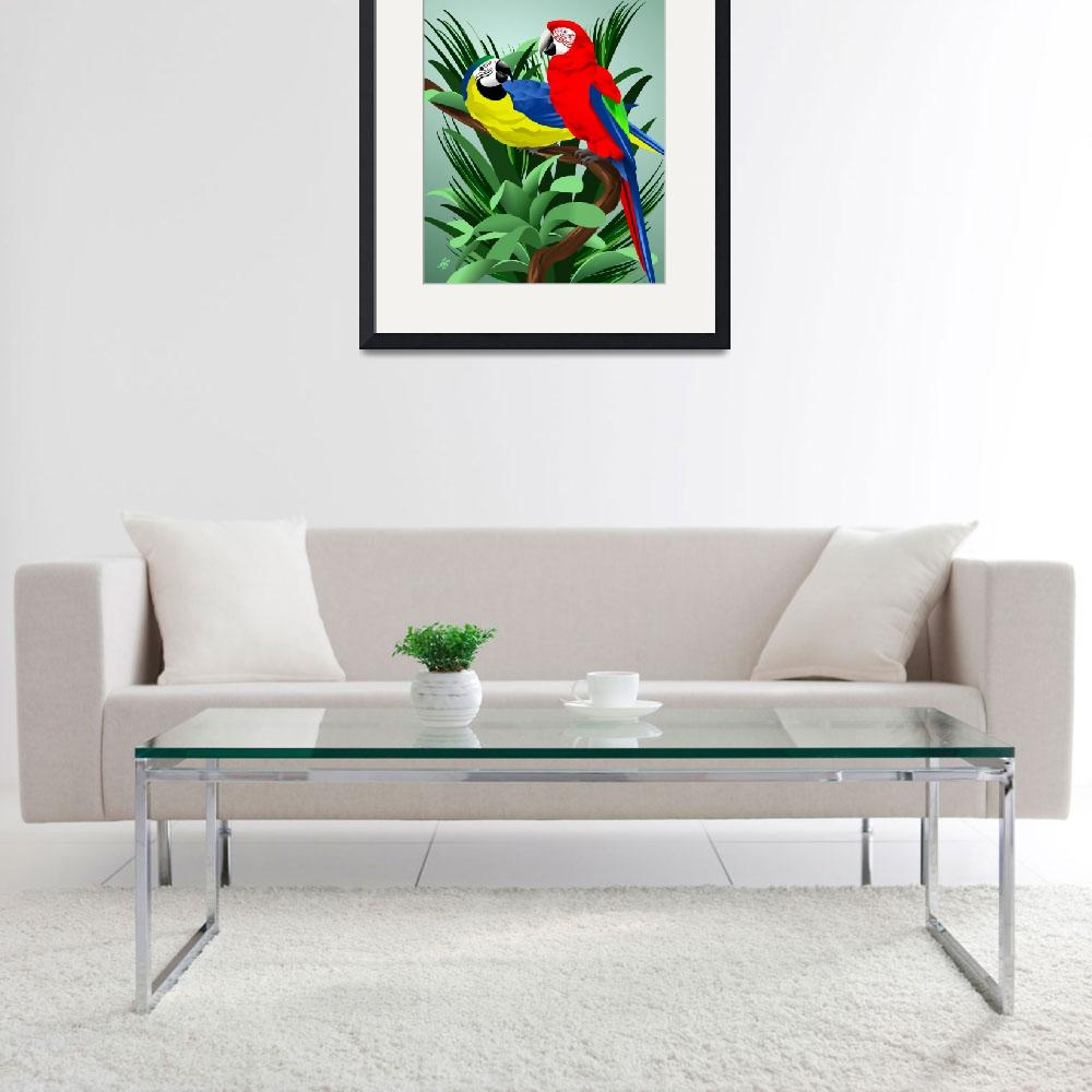 """Two Parrots&quot  by waterart"