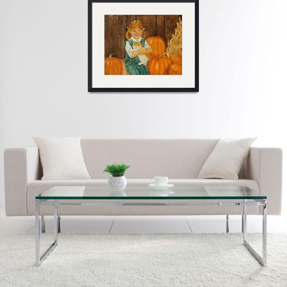 """Girl with Kitten and Pumpkins Painting""  (1981) by catnip009"