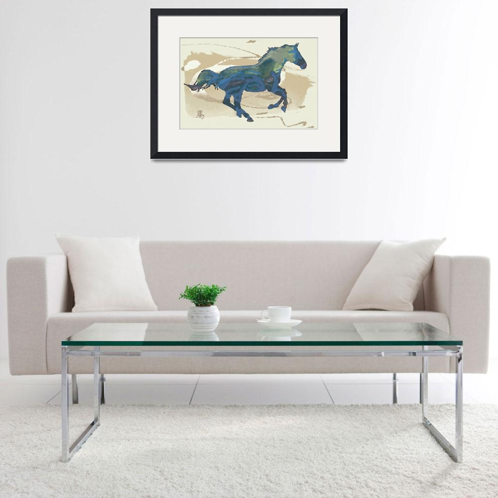 """Horse racing stylised painting art poster""  (2014) by visualharbour"