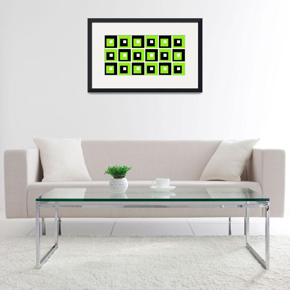 """""""Retro Cubed Black and Lime&quot  (2012) by ImageMonkey"""
