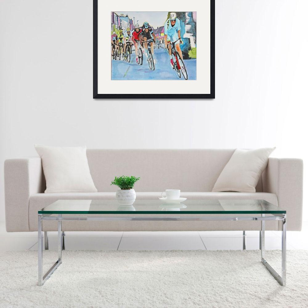 """Nibali breaks away to win Stage 2""  (2015) by DianaNadalFineArt"