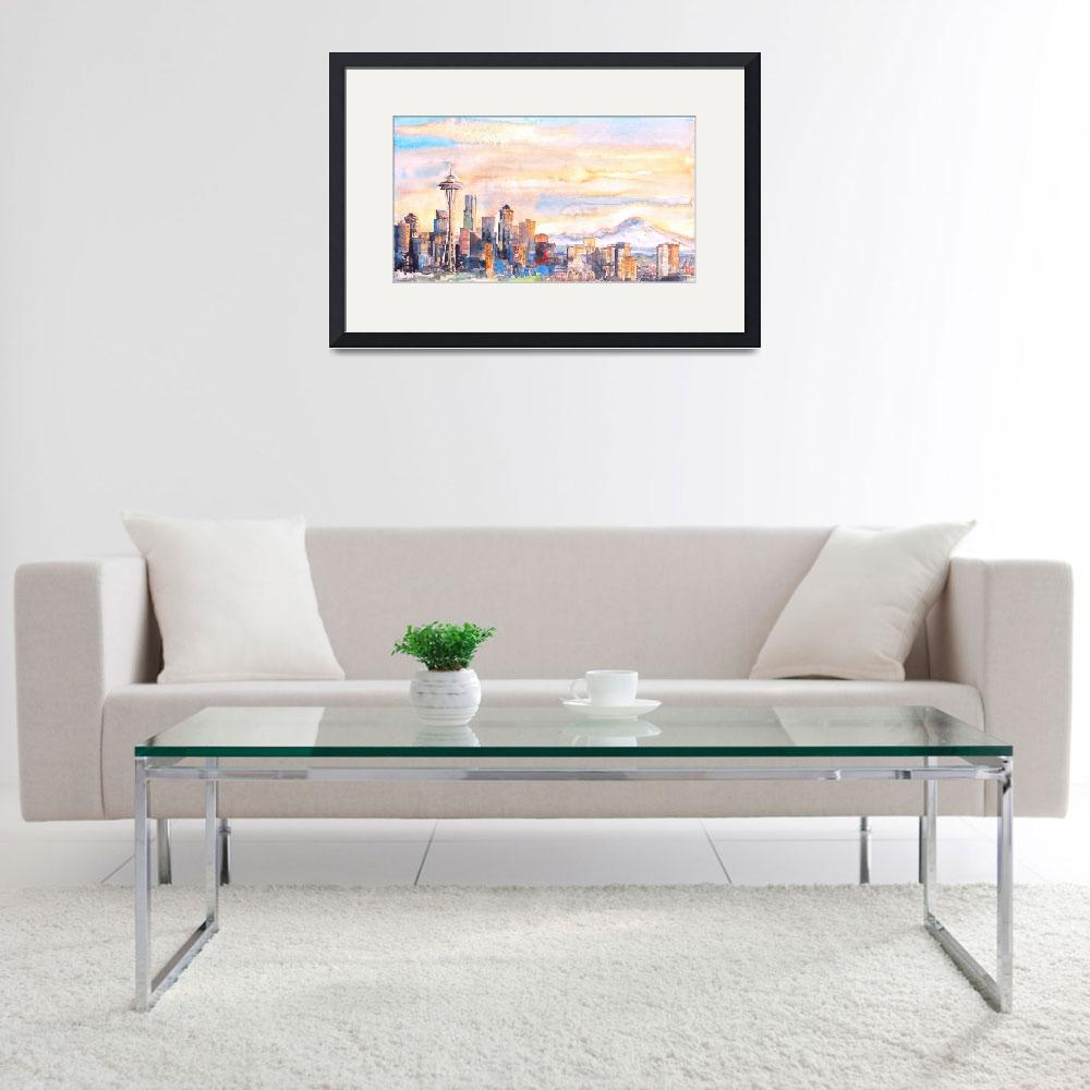 """Seattle Skyline in Sunrise&quot  (2015) by ShaSha"