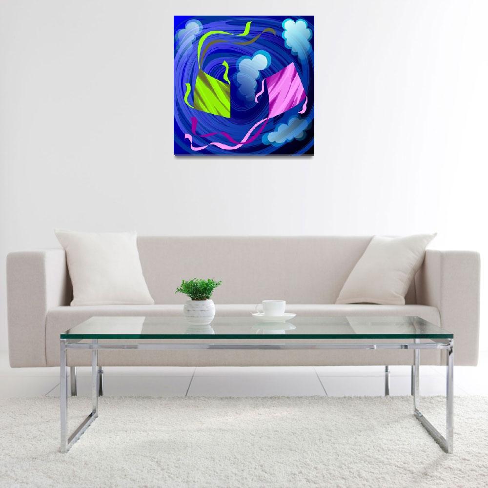 """Digital painting of flying kites""  (2009) by digitalpainting"