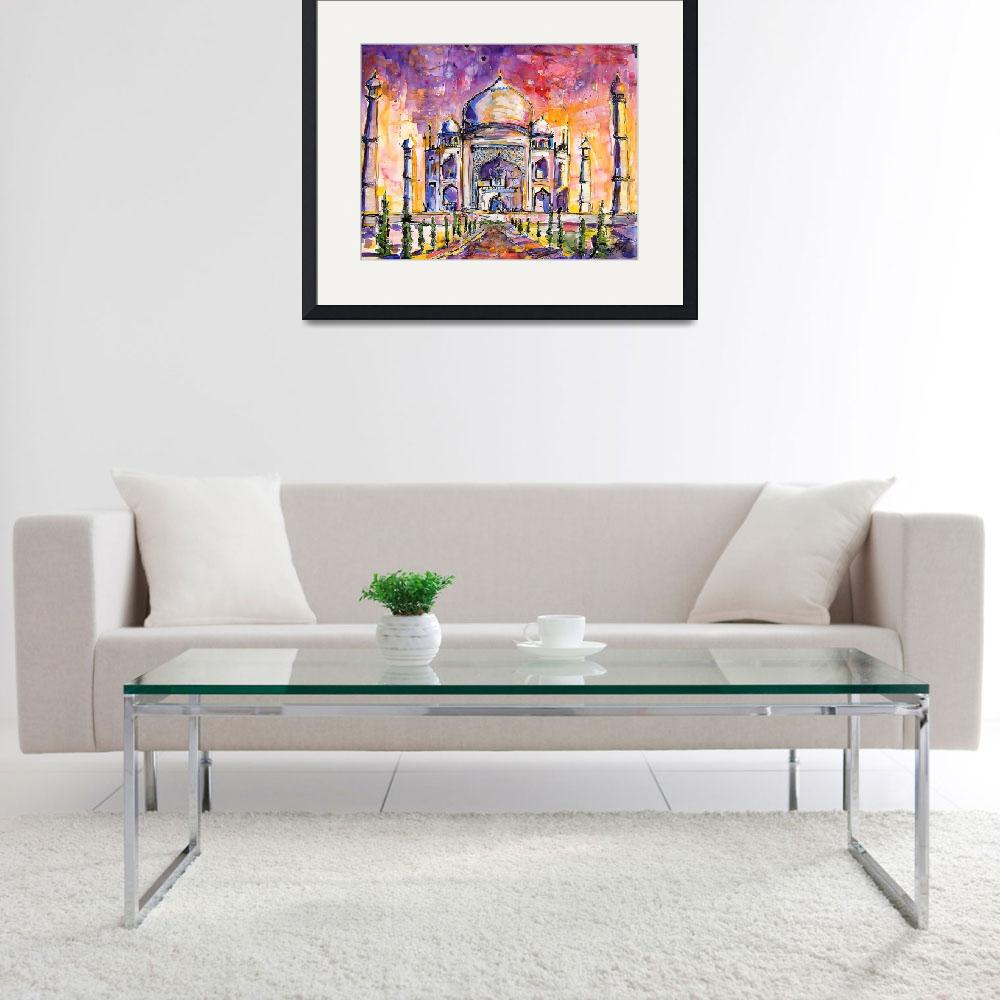 """""""Taj Mahal India Watercolor by Ginette Callaway""""  (2005) by GinetteCallaway"""