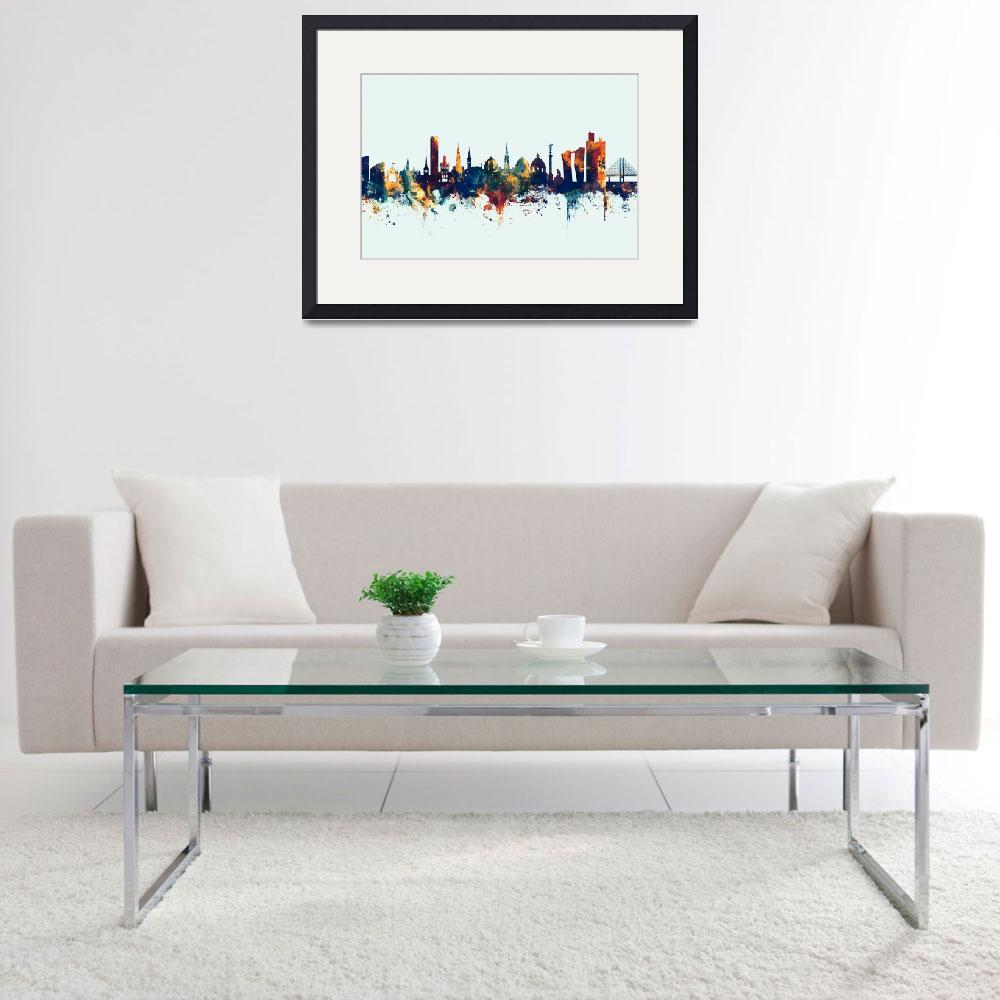 """Copenhagen Denmark Skyline&quot  (2017) by ModernArtPrints"