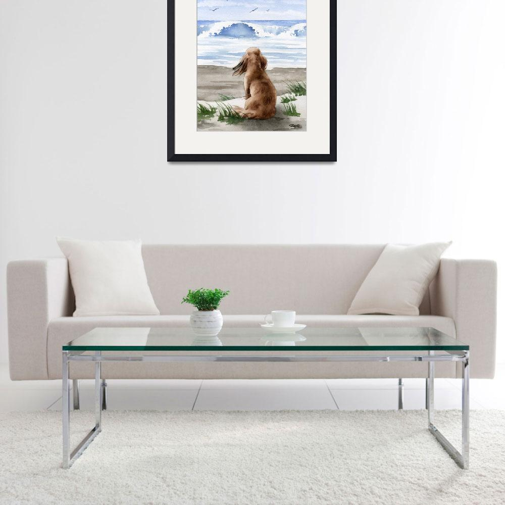 """Long Haired Dachshund at the Beach""  (2017) by k9artgallery"