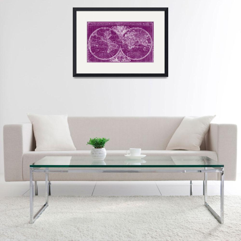 """""""World Map (1691) Purple & White&quot  by Alleycatshirts"""
