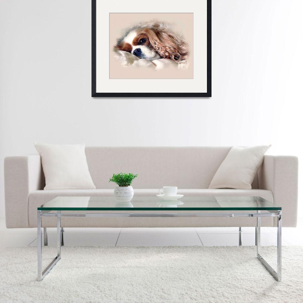 """Sleepy Cavalier King Charles Spaniel&quot  (2009) by lindacarroll"