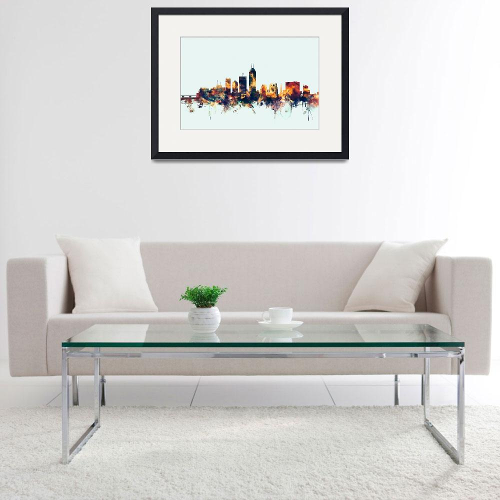 """""""Indianapolis Indiana Skyline&quot  (2015) by ModernArtPrints"""