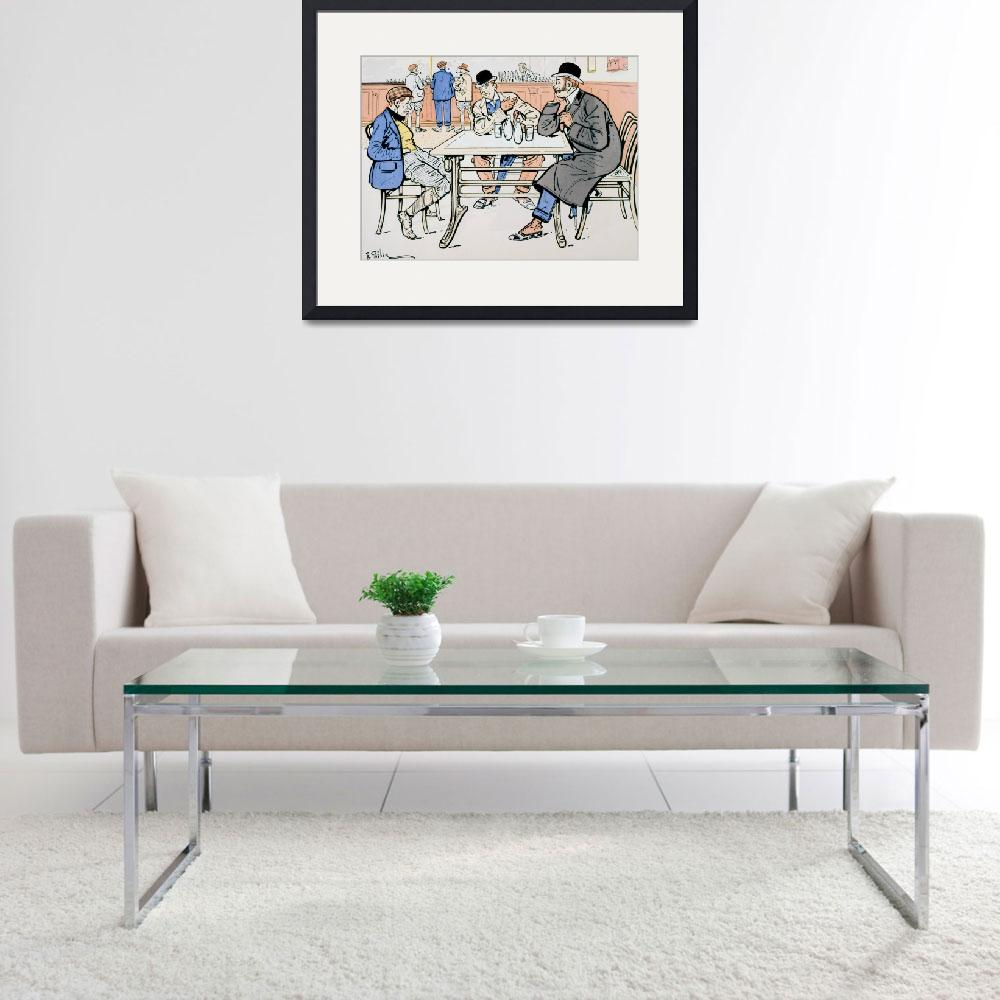 """""""Jockey and trainers in the bar&quot  by fineartmasters"""