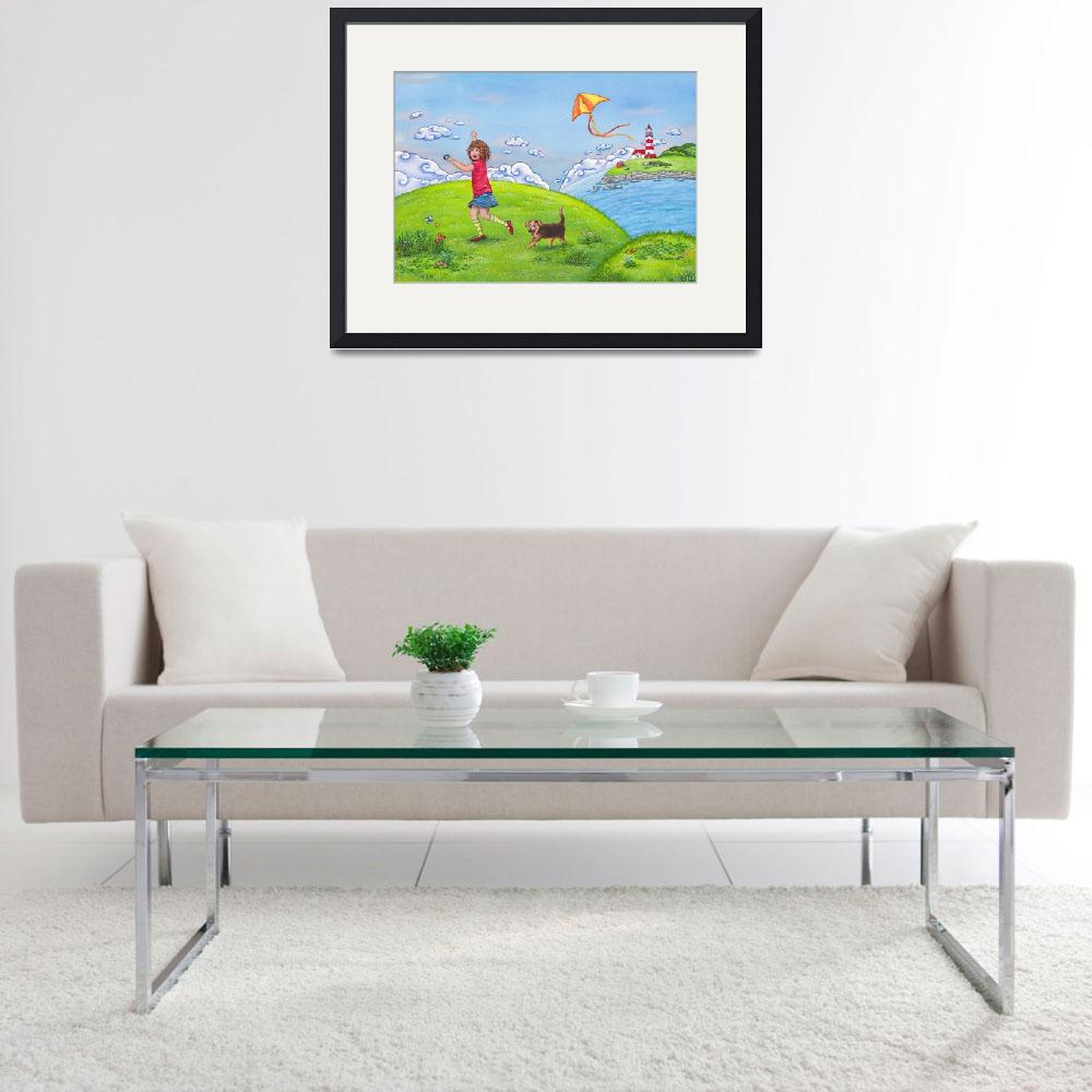 """""""Childrens room art with Girl on a Sunny Summer Day&quot  (2011) by nopiepan"""
