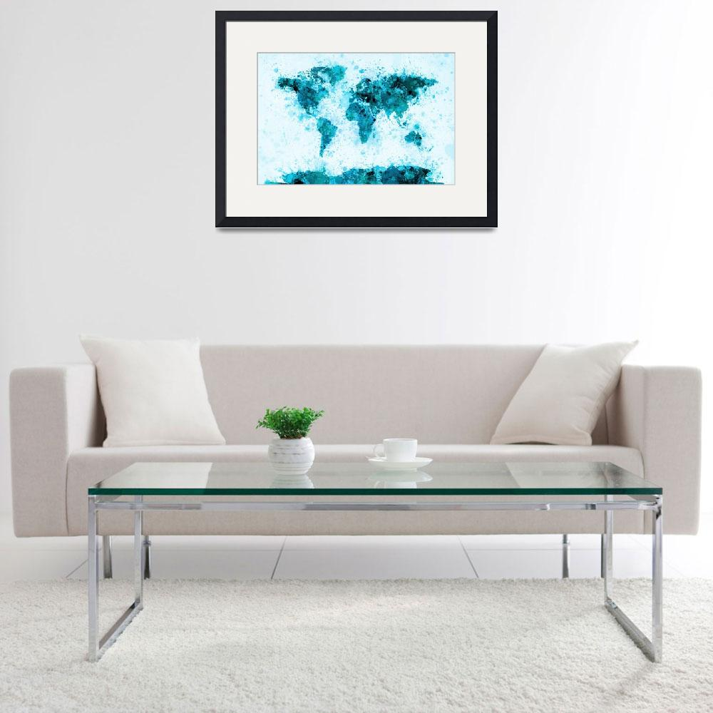 """World Map Paint Splashes Blue&quot  (2011) by ModernArtPrints"