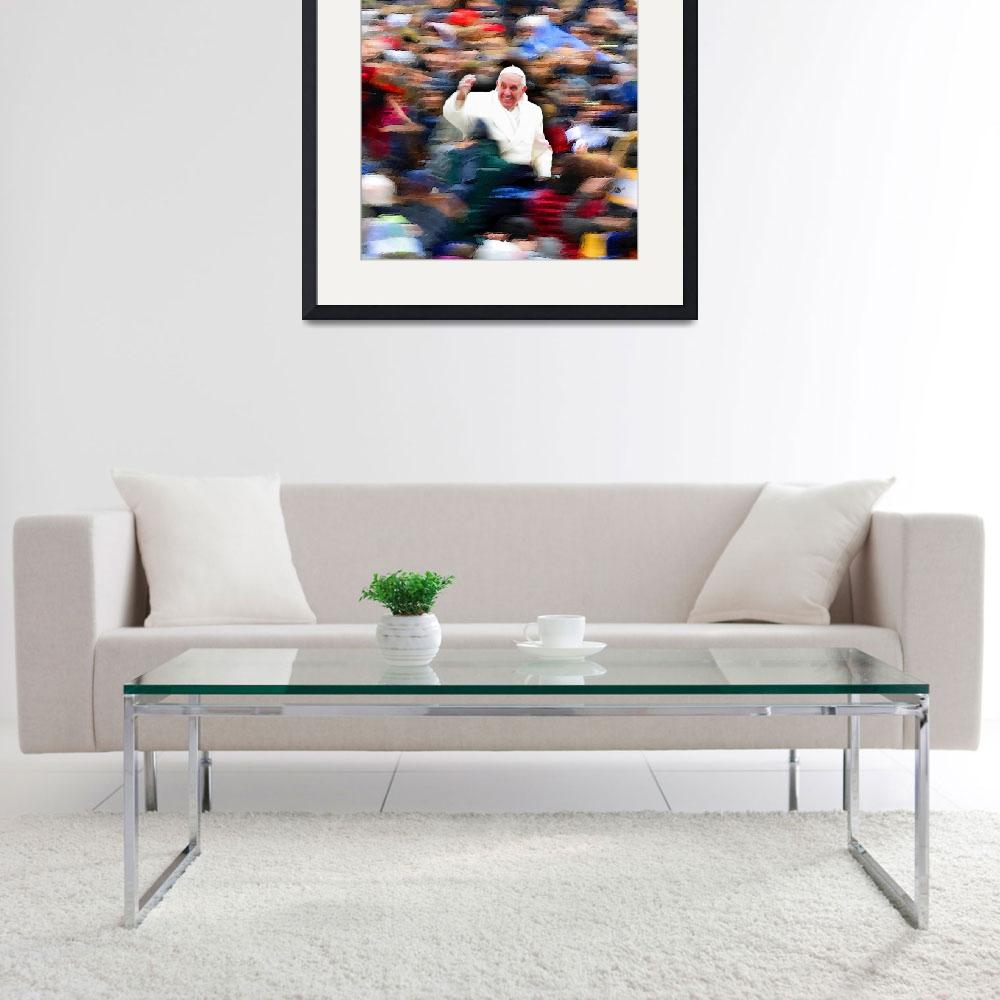 """""""Pope Francis In Crowd of Faithful Acrylic 3""""  by RubinoFineArt"""