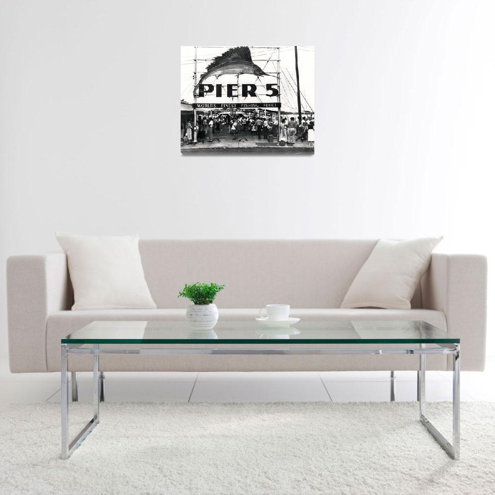 """Pier 5, Miami, c.1950 (b/w photo)&quot  (1950) by fineartmasters"
