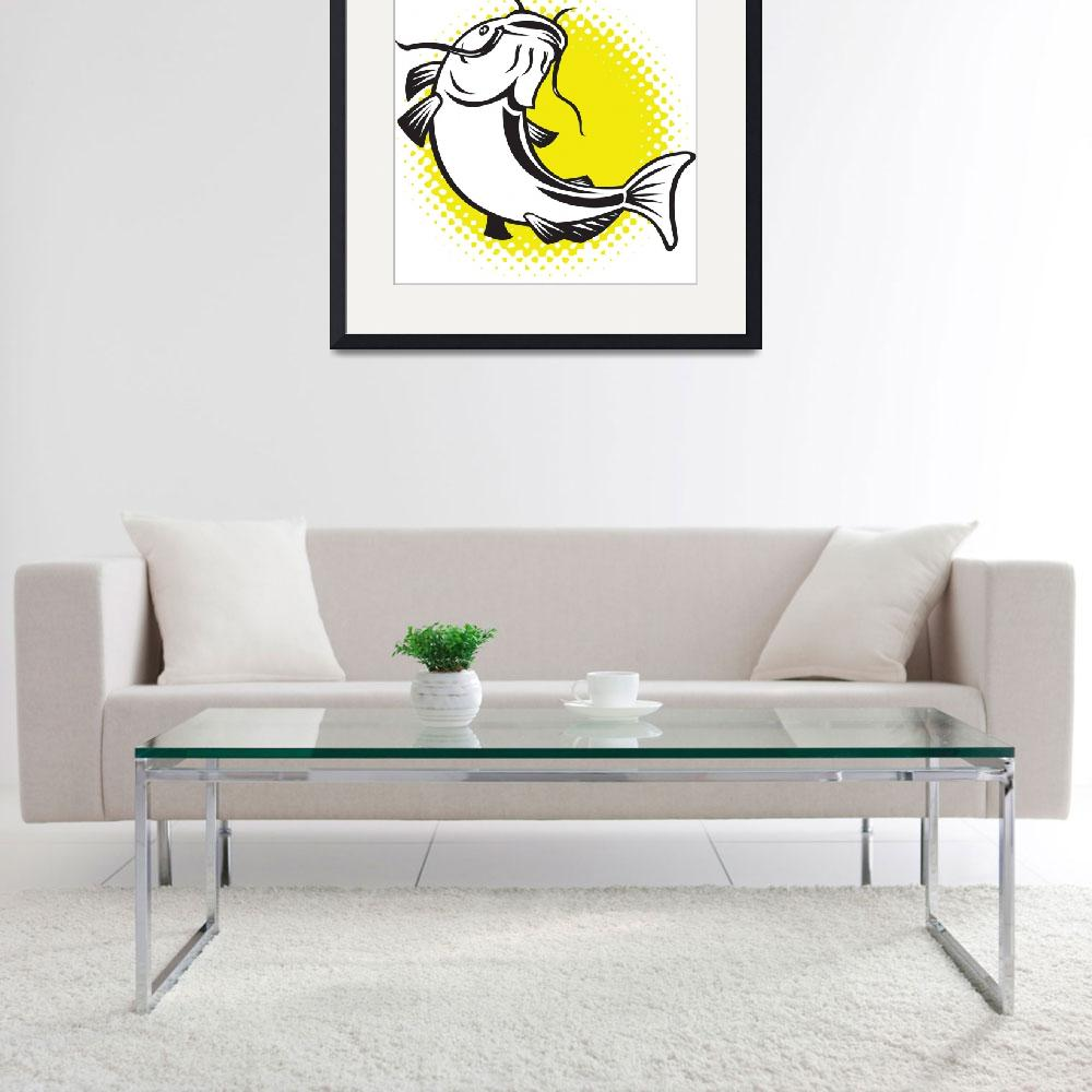 """""""Catfish jumping up with halftone dots&quot  (2013) by patrimonio"""