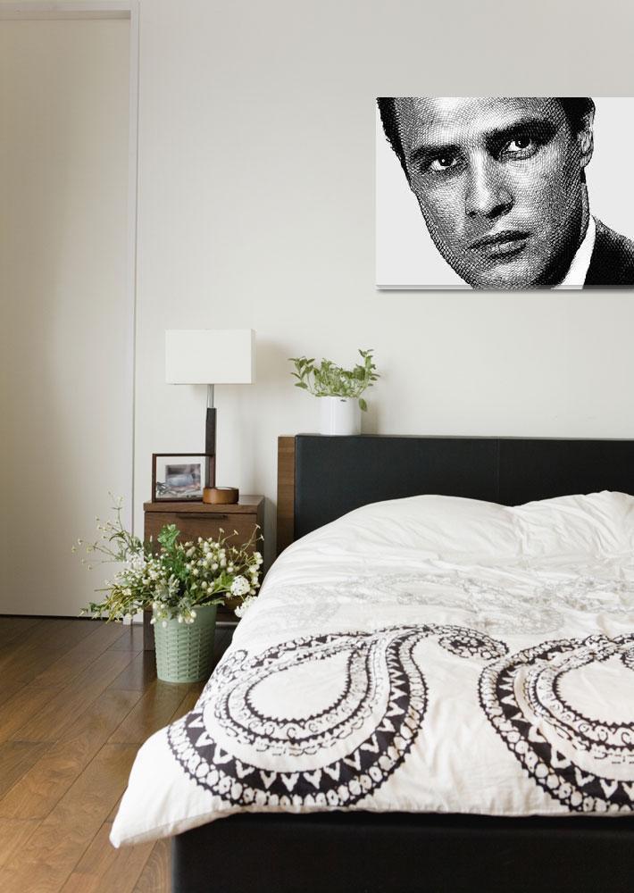 """Young Marlon Brando Etching Black Gray""  by RubinoFineArt"