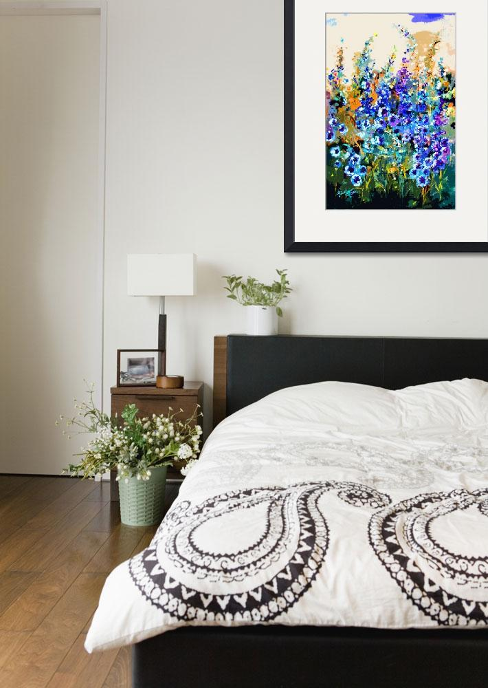 """""""Delphiniums Modern Floral Art&quot  (2014) by GinetteCallaway"""