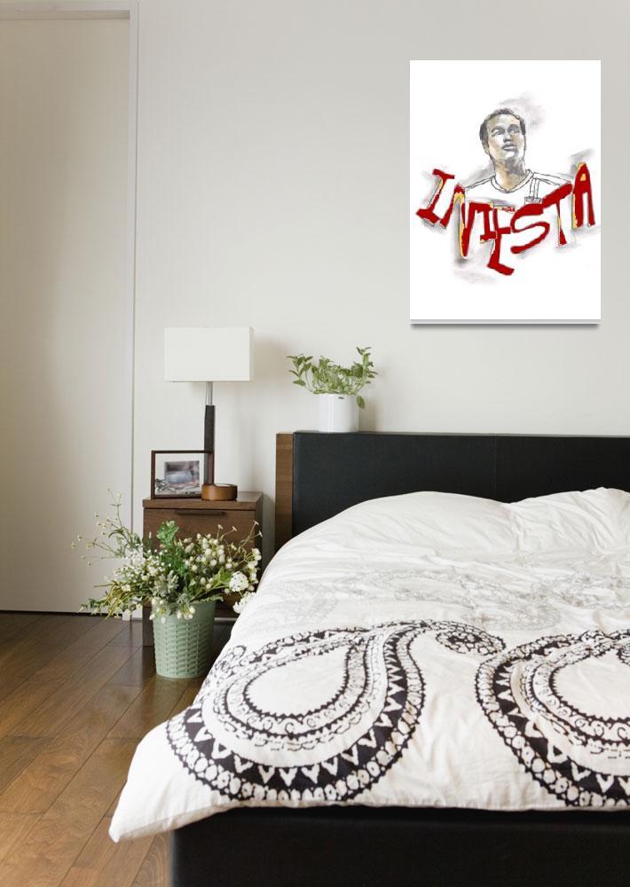 """Andres Iniesta Portrait""  (2009) by edsherrell"