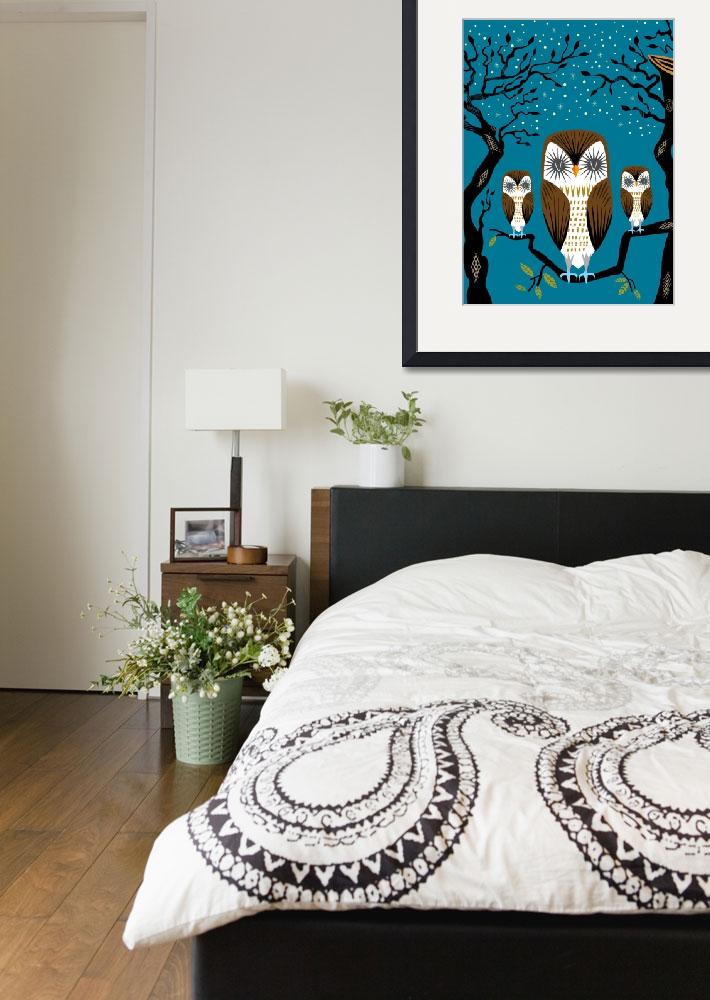 """""""Three Lazy Owls - Limited Edition Print&quot  (2010) by iotaillustration"""