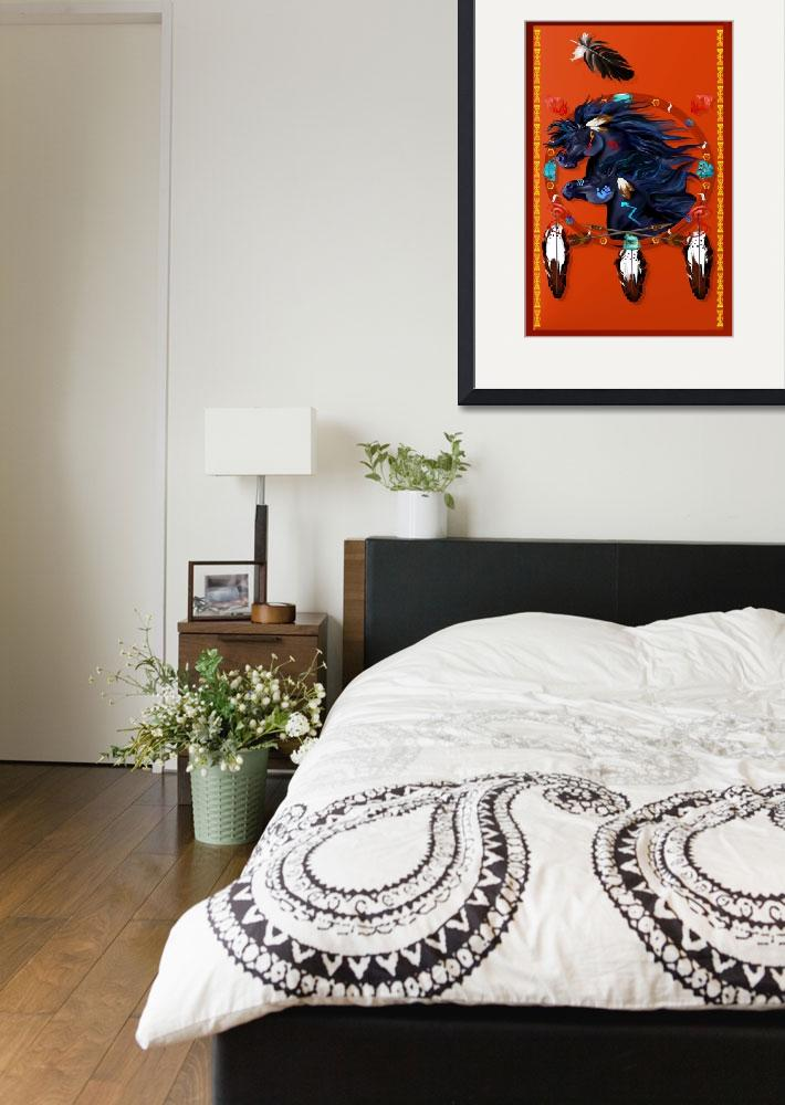 """""""Large Poster Two Black Horses Mandala&quot  by Lotacats"""