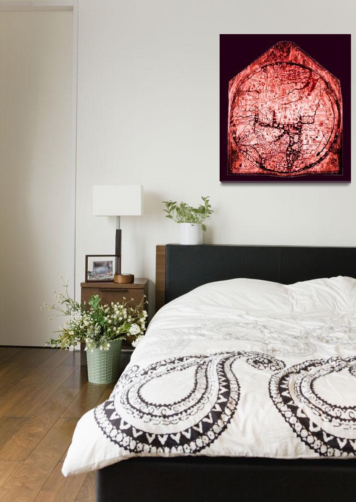 """Hereford Mappa Mundi Red Tint Medium Violet Border""  (2014) by TheNorthernTerritory"