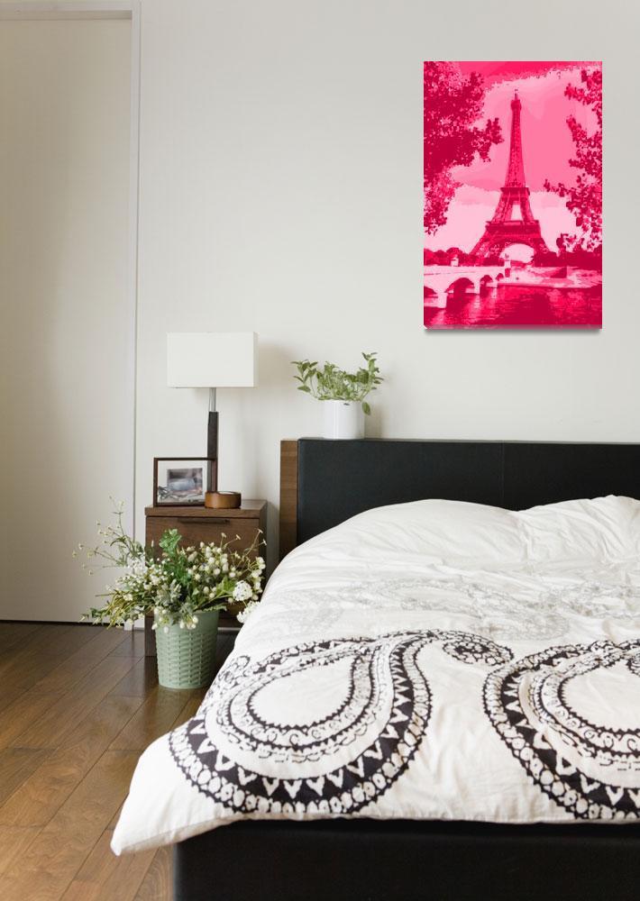 """""""Eiffel Tower Seine River enhanced dark pink red""""  by TheNorthernTerritory"""