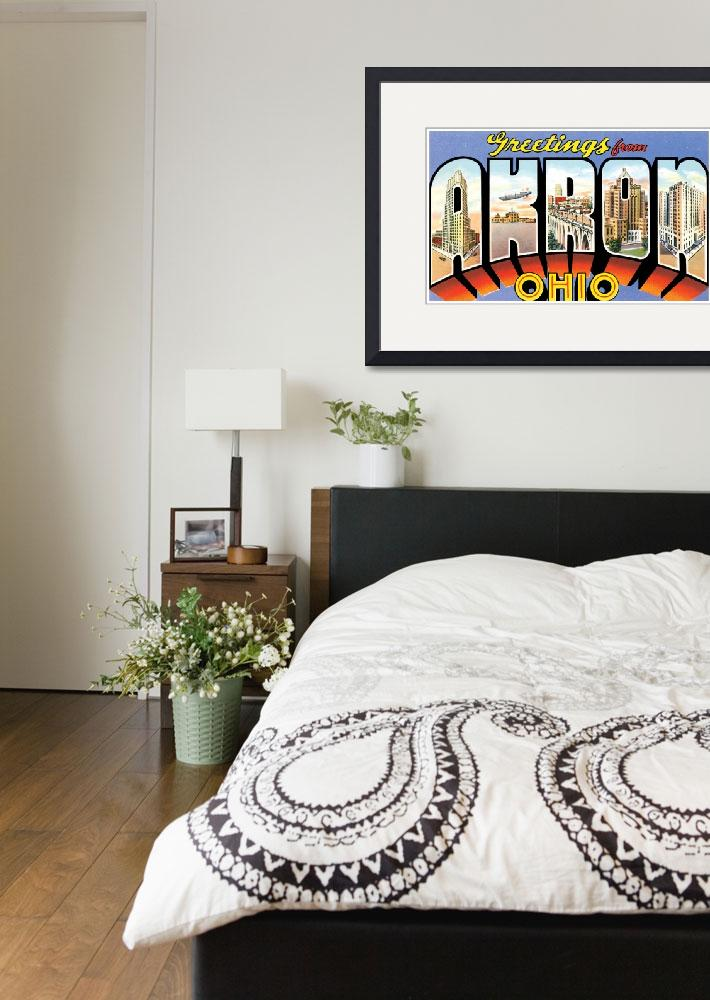 """""""Akron OH Large Letter Postcard Greetings&quot  by ArtLoversOnline"""