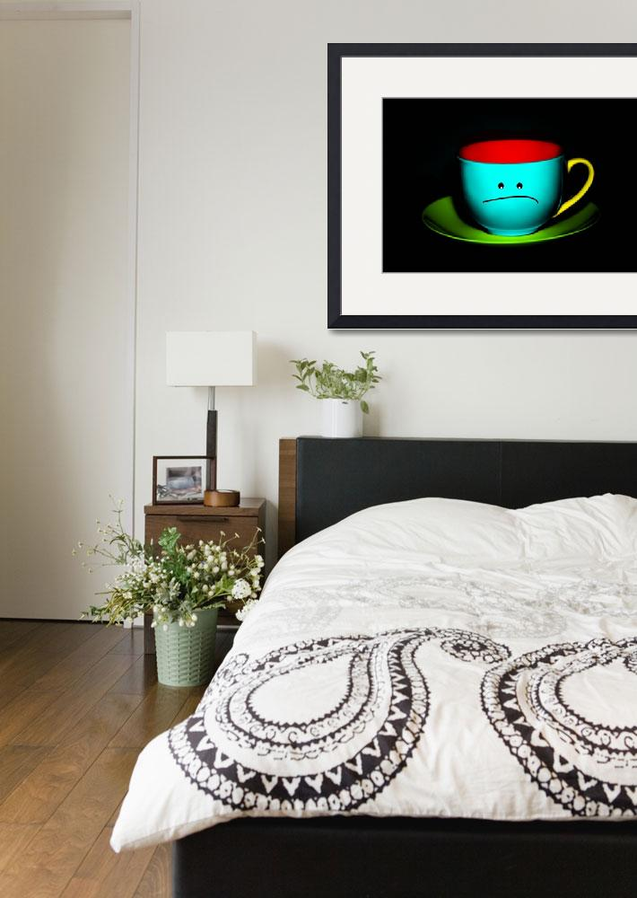 """Funny Wall Art - Peeved Colourful Teacup&quot  by NatalieKinnear"