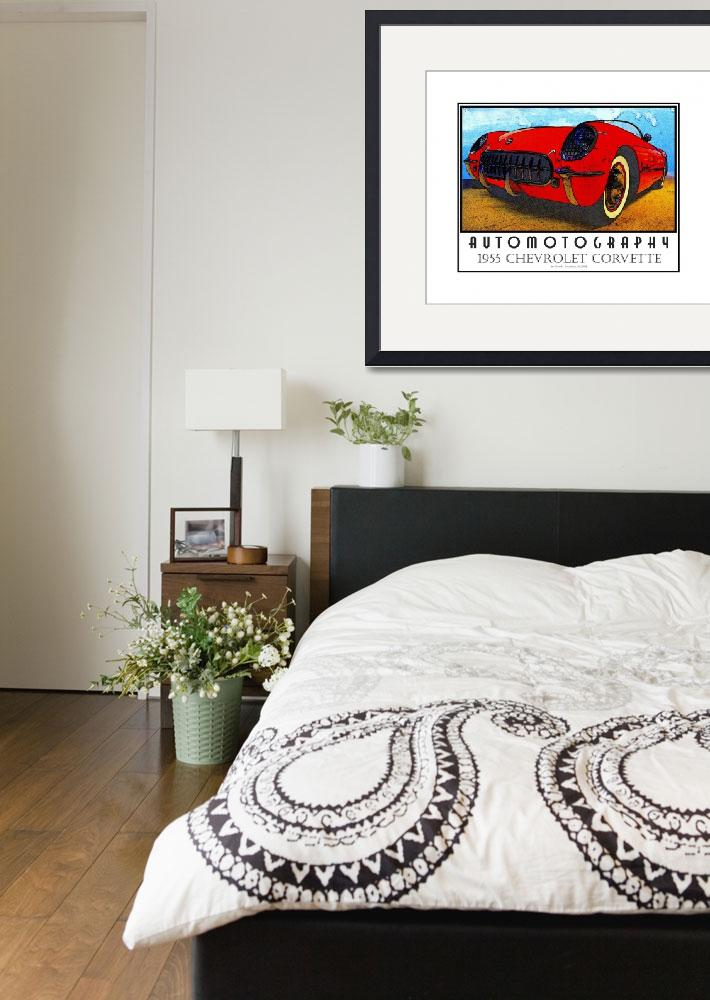 """""""1955 Chevrolet Corvette Red - Poster&quot  (2008) by Automotography"""