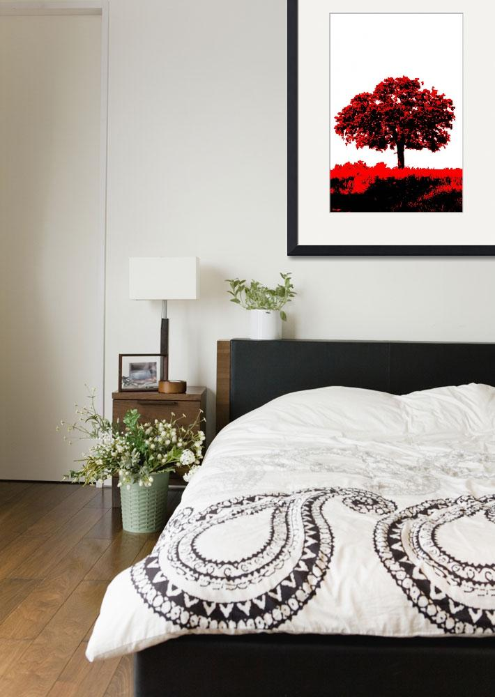 """""""Lone Oak - Black White And Red Series&quot  (2013) by bettynorthcutt"""