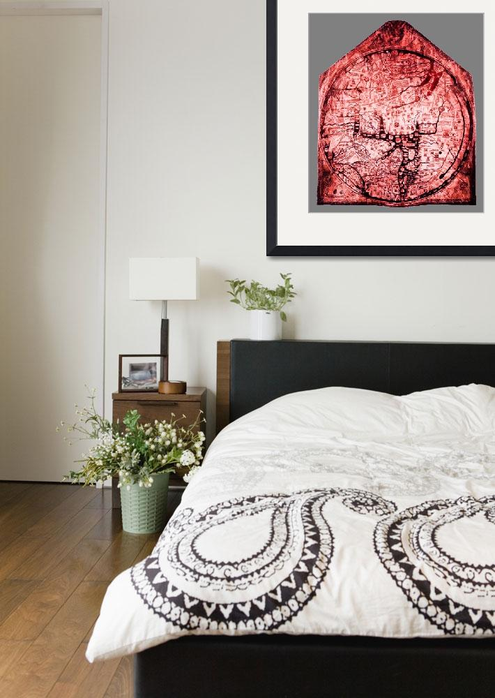 """""""Hereford Mappa Mundi  Red Tint Small Grey Border&quot  (2014) by TheNorthernTerritory"""