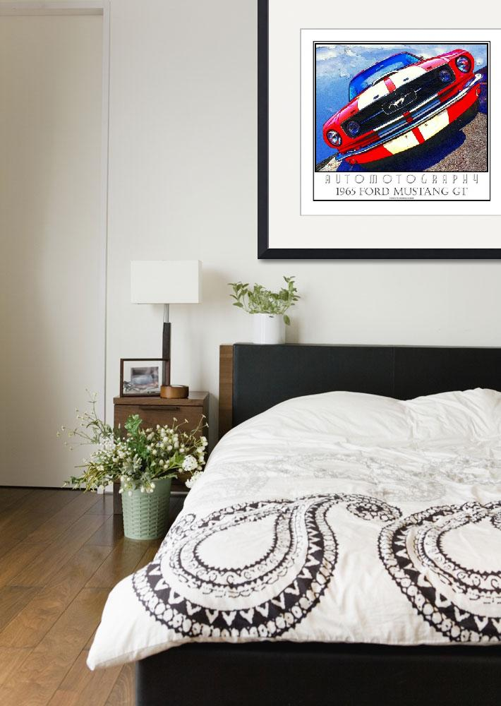 """1965 Mustang GT Poster White Border&quot  (2008) by Automotography"