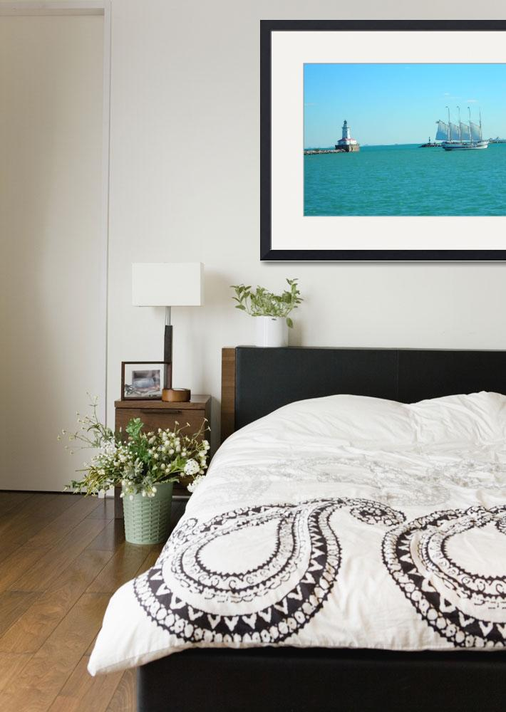 """""""Sailboat """"Windy"""" and Chicago Harbor Light&quot  (2006) by LisaAndres"""